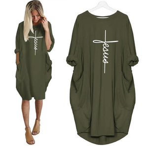 2021 Jesus Heaven's Clouds on Earth Fashion Comfort Dress with Pockets