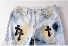 Load image into Gallery viewer, Stitched Leather Rosary Fashion Jeans