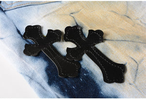 Stitched Leather Rosary Fashion Jeans
