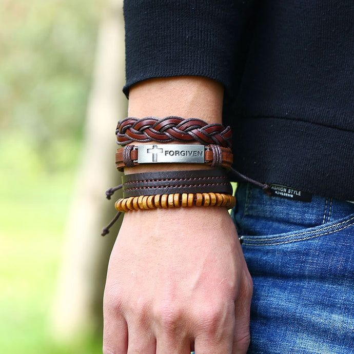 Forgiven Weaved Stacked Leather Bracelet Set