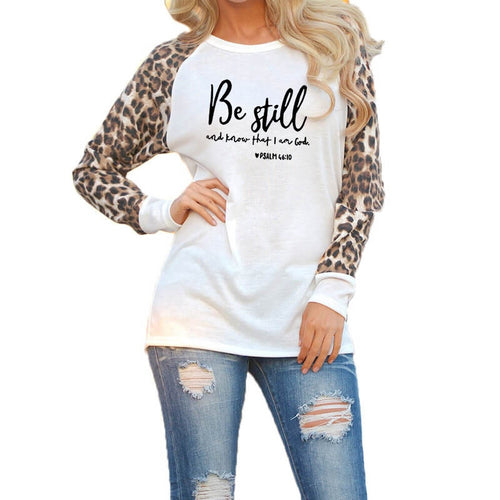 Psalm 46:10 Be Still Fashion Leopard Spring Top