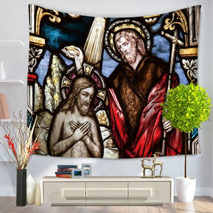 Baptism of Christ Vivid Wall Tapestry/Sofa Cover