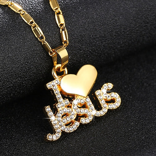 I Love Jesus 18K Gold/Rose Gold, Silver plated Necklace