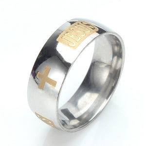 Jesus Titanium Plated Stainless Steel Ring