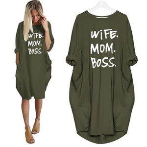 Wife, Mom, Boss Comfort Leisure Dress with Pockets