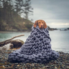 Hand knit chunky blankets dog lake