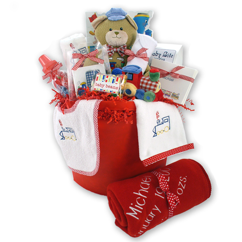 The Little Engine that Cooed - Baby Boy Gift Basket