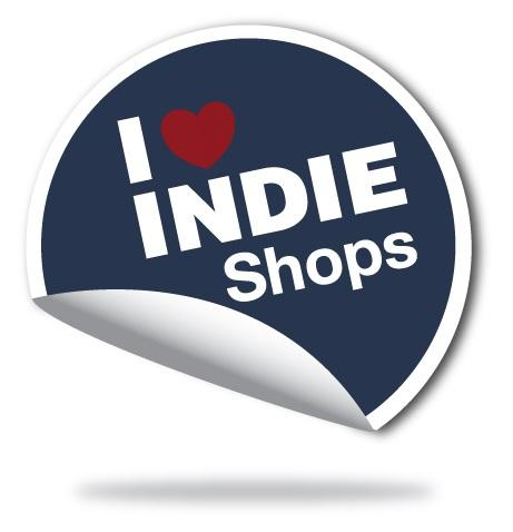 """A Badge With The Words """"I Love Indie Shops"""""""