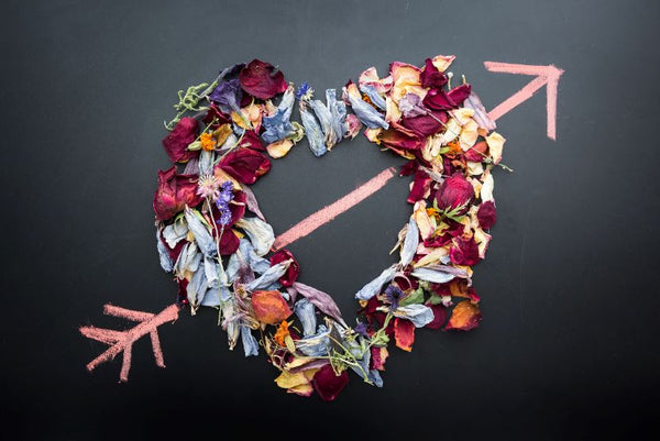 A heart made from dried flower petals