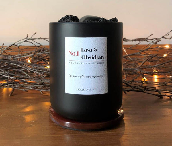 A Volcanic Potpourri With Birch Twigs And Christmas Lights