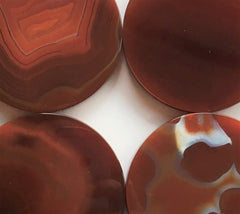 Hand finished red agate stone lids