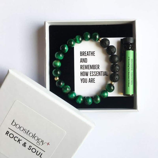 Green tigers eye lava diffuser bracelet in a white gift box