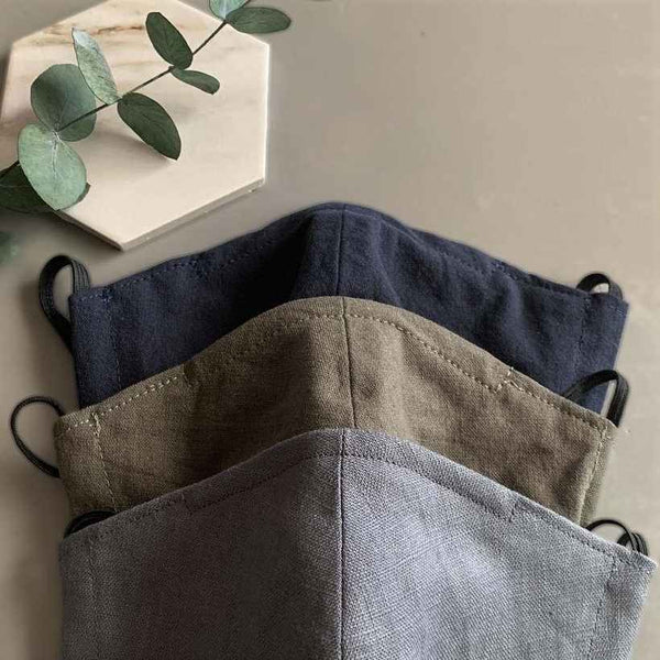 Linen face masks in navy blue, green and grey