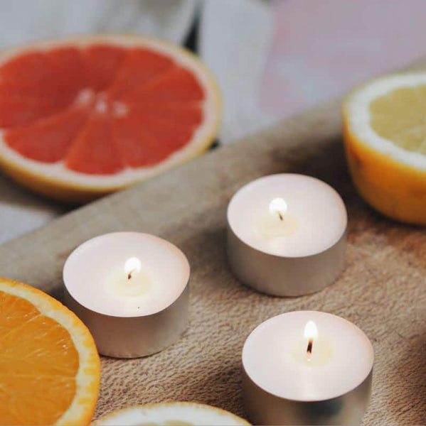 Three burning Bergamot, Lemon & Pink Grapefruit Tea Light Candles