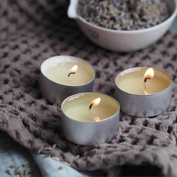 Three burning Lavender & Petitgrain tealights