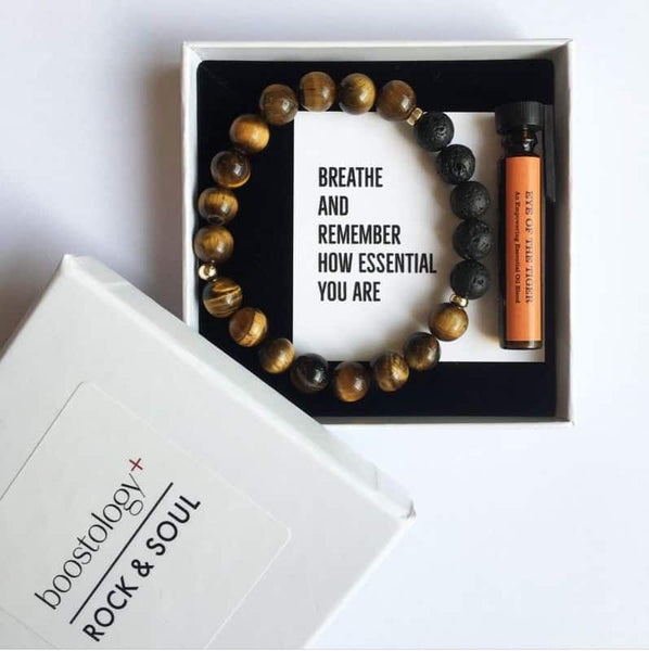 Tigers eye and lava diffuser bracelet in a white gift box