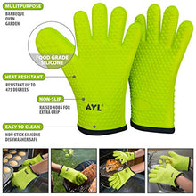 Load image into Gallery viewer, AYL Silicone Cooking Gloves - Heat Resistant Oven Mitt for Grilling, BBQ, Kitchen - Safe Handling of Pots and Pans - Cooking & Baking Non-Slip Potholders - Internal Protective Cotton Layer