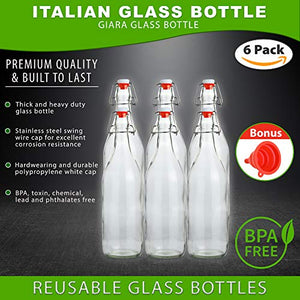Flip Top Glass Bottle [1 Liter / 33 fl. oz.] [Pack of 4] – Swing Top Brewing Bottle with Stopper for Beverages, Oil, Vinegar, Kombucha, Beer, Water, Soda, Kefir – Airtight Lid & Leak Proof Cap – Clear