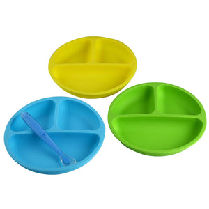 Silicone Plates for Toddlers (Set of 3 Colors & 1 Soft Spoon) – Divided Baby Plates | Silicone Kids Plates Easily Wipe Clean!