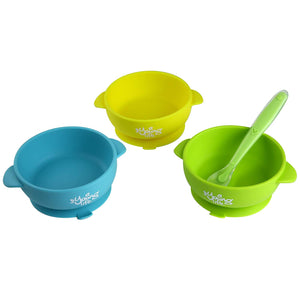 Silicone Baby Bowl (Pack of 3) & 1 Soft Spoon – Spill Proof Feeding Bowl with Suction Cup Base – BPA Free & Nontoxic Snack Container for Toddlers – Perfect Baby Shower Gift Set