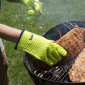 AYL Silicone Cooking Gloves - Heat Resistant Oven Mitt for Grilling, BBQ, Kitchen - Safe Handling of Pots and Pans - Cooking & Baking Non-Slip Potholders - Internal Protective Cotton Layer