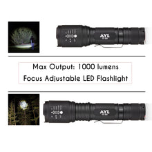 Load image into Gallery viewer, AYL LED Flashlight Tactical Flashlight - [2 Pack] 1000 High Lumens CREE Torch Light, Ultra Bright Emergency Handheld Flashlights
