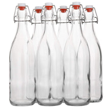 Load image into Gallery viewer, Flip Top Glass Bottle [1 Liter / 33 fl. oz.] [Pack of 6] – Swing Top Brewing Bottle with Stopper for Beverages, Oil, Vinegar, Kombucha, Beer, Water, Soda, Kefir – Airtight Lid & Leak Proof Cap – Clear