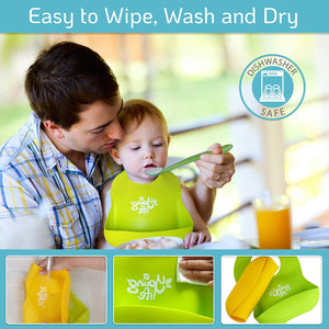 Waterproof Silicone Bib – Easy to Clean Comfortable Soft Baby Bibs – BPA Free - Lightweight & Convenient Set Includes 2 Colors for Babies or Toddlers!