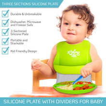 Load image into Gallery viewer, Silicone Plates for Toddlers (Set of 3 Colors & 1 Soft Spoon) – Divided Baby Plates | Silicone Kids Plates Easily Wipe Clean!