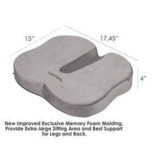 Load image into Gallery viewer, Naturalico 100% Memory Foam Portable Seat Cushion with Cooling Gel Pad for Coccyx Tailbone and Sciatica Back Pain