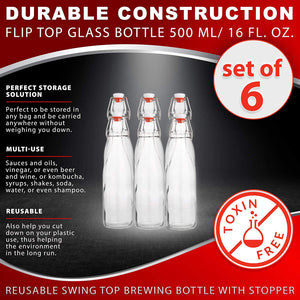 AYL Flip Top Glass Bottle [500 ml/ 16 fl. oz.] [Pack of 6] – Reusable Swing Top Brewing Bottle with Stopper for Beverages, Oil, Vinegar, Kombucha, Beer, Water, Soda, Kefir – Airtight Lid & Leak Proof