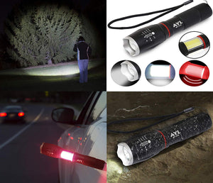 AYL LED Flashlight Work Light: Ultra Bright Car Emergency Red Tactical Flashlight - Zoomable, Shock Proof, Handheld Light with Powerful Magnetic Base (Black)