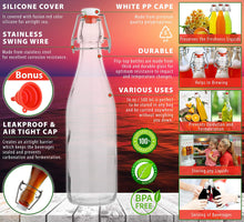Load image into Gallery viewer, AYL Flip Top Glass Bottle [500 ml/ 16 fl. oz.] [Pack of 6] – Reusable Swing Top Brewing Bottle with Stopper for Beverages, Oil, Vinegar, Kombucha, Beer, Water, Soda, Kefir – Airtight Lid & Leak Proof