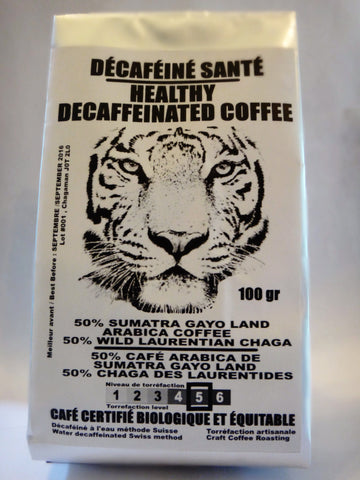 Café décaféiné santé/healthy decafeinated coffee (50% décaféiné/decafeinated coffee - 50% chaga )