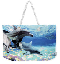 Load image into Gallery viewer, Blue Dolphins - Weekender Tote Bag