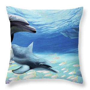 Blue Dolphins - Throw Pillow