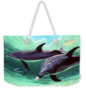 Dolphins And Turtle - Weekender Tote Bag