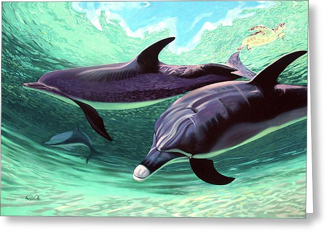 Dolphins And Turtle - Greeting Card