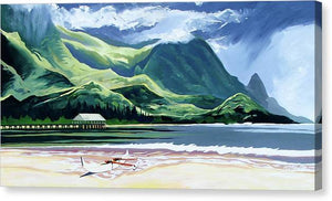 Hanalei Canoe And Pier - Canvas Print