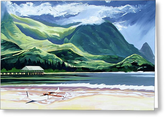 Hanalei Canoe And Pier - Greeting Card