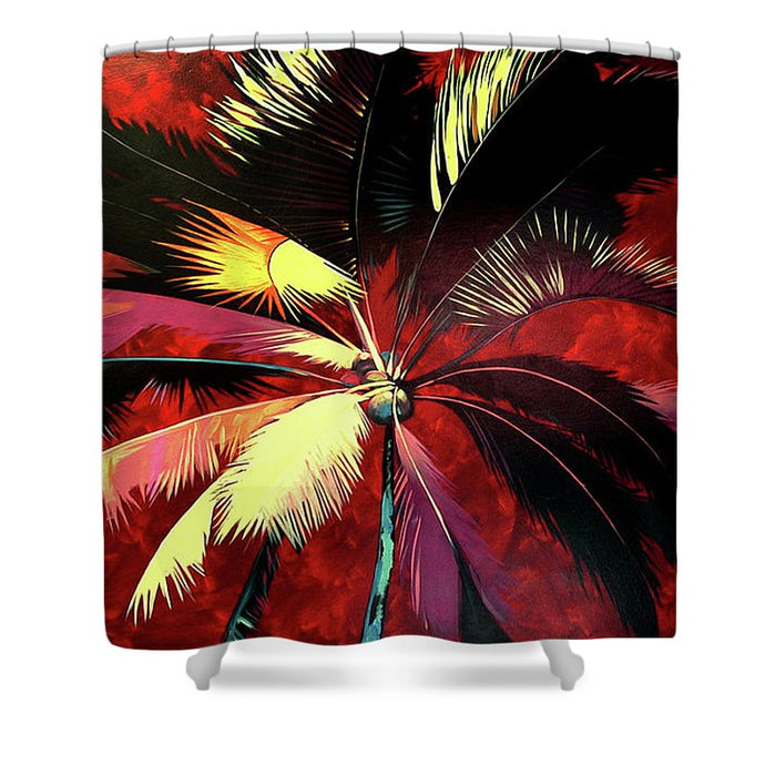 Maroon Palm - Shower Curtain