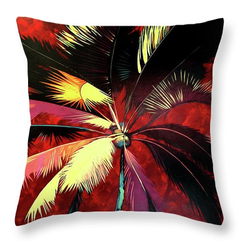 Maroon Palm - Throw Pillow