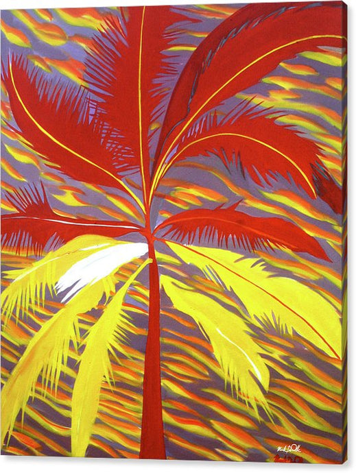 Sunset Red Palm - Canvas Print