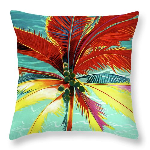 Wild Red Palm - Throw Pillow