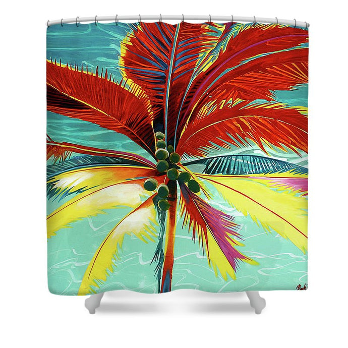 Wild Red Palm - Shower Curtain