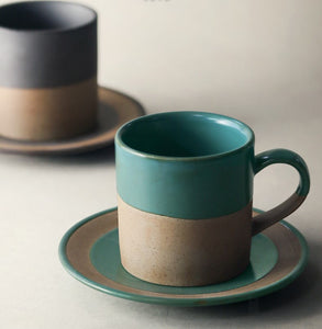 Duotone coffee cup with matching saucer