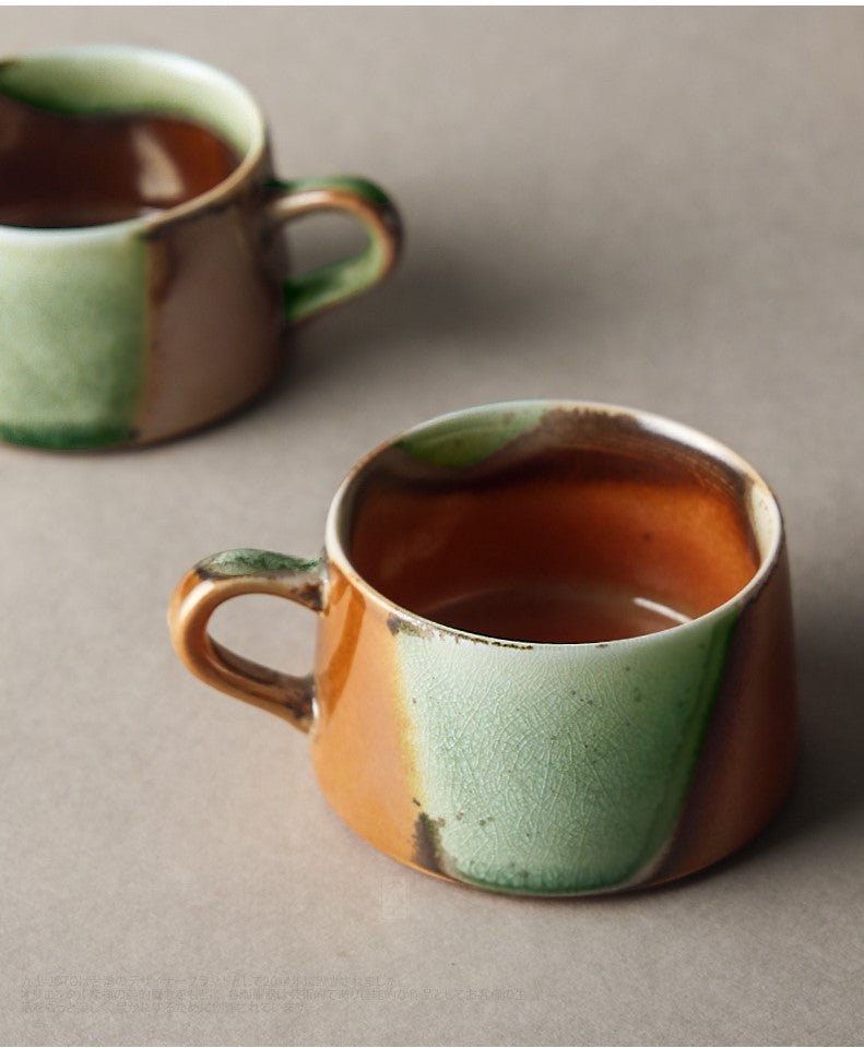 Cup and small plate set - Crackle glaze