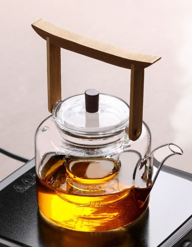 Japanese style glass teapot - with infuser & steam filter