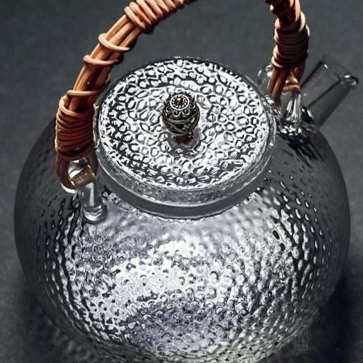 Hammered texture glass teapot