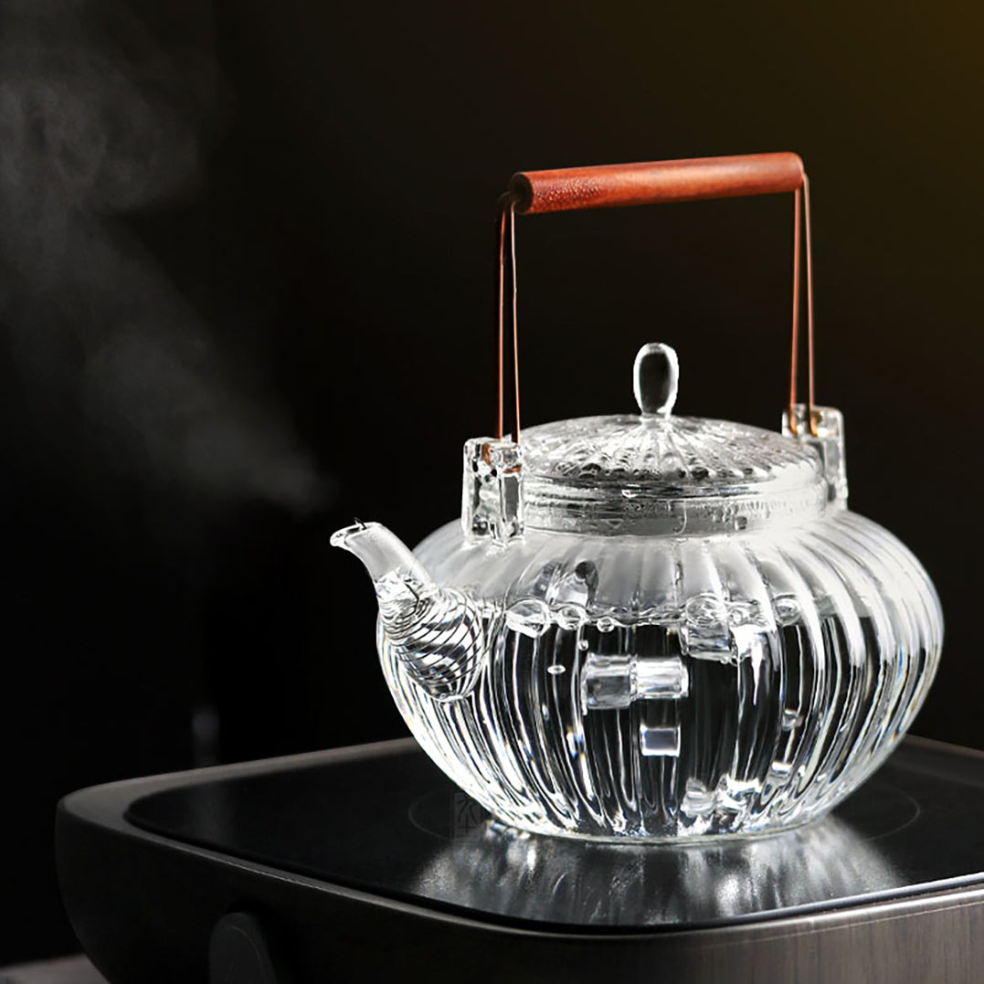 Glass teapot - blooming series